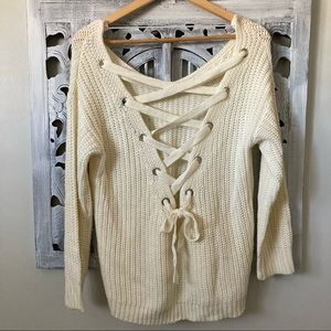 Love @ First Sight cream knit lace up back sweater